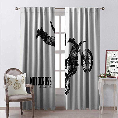 (Hengshu Dirt Bike Thermal Insulating Blackout Curtain Weathered Effect Biker Silhouette and Motocross Racing Moves Theme Blackout Draperies for Bedroom W84 x L108 Black and Coconut)
