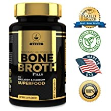 Bone Broth Protein Powder Superfood Capsules by Au Bon - 180 Capsules - Organic Dehydrated Grassfed Beef + Chicken, Non-GMO, A Great Source of Collagen!
