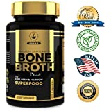 Bone Broth Protein Powder Superfood Capsules - Organic Dehydrated Grassfed Beef + Chicken Powder Blend Pills - Non-GMO - Great Source of Collagen + Bone Broth Protein (180 Capsules Total)