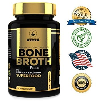 Bone Broth Protein Powder Superfood Capsules – Organic Dehydrated Grassfed Beef Chicken Powder Blend Pills – Non-GMO – Great Source of Collagen Bone Broth Protein 180 Capsules Total
