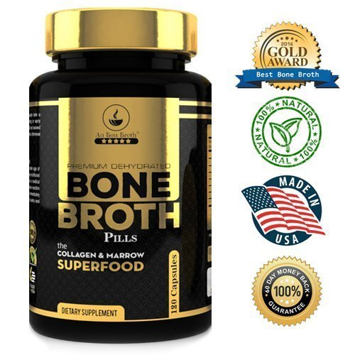 Bone Broth Protein Superfood Capsules - Organic Dehydrated Grassfed Beef and Chicken Powder Blend Pills - Non-GMO - Great Source of Collagen (180 Capsules Total)