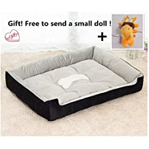 Excellent High Elasticity Soft Warm and Comfortable Bottom Anti-skid Pet Beds PP cotton & Short Plush Dog Mat Professional House Help Improve sleep Quality (XXS(45*31*15cm), Black)