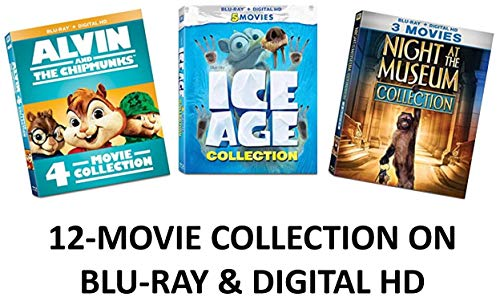Fox Franchise Ultimate Kids & Family 12-Movie Blu-ray Collection: Night at the Museum 1, 2, 3 / Alvin & the Chipmunks 1, 2, 3, 4 / Ice Age 1, 2, 3, 4, 5