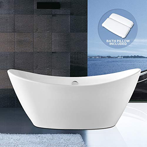 Soaking Bathtub BATH MASTER 67'' Acrylic Contemporary Bathroom Freestanding Tub with Chrome Overflow and Drain, cUPC Certified (67