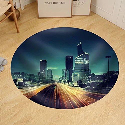 Gzhihine Custom round floor mat Paris Ladefense in Sunset Time - Sunset Time In Paris France