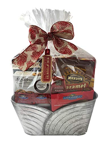 Wine & Country Snacks Gift Tin Basket with Popcorn, Chocolate, Caramels, Cookies, Crackers, Candy (Silver) (Silver Basket Cake)
