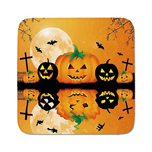 Cozy Seat Protector Pads Cushion Area Rug,Halloween Decorations,Spooky Carved Halloween Pumpkin Full Moon with Bats and Grave Lake,Orange Black,Easy to Use on Any Surface -