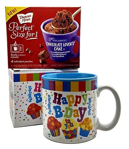 (Happy Birthday Mug In Gift Box with 4 Mug Cake Mix Pouches Bundle (Chocolate Lover))