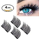 3D Magnetic False Eyelashes by AOSTAR, 0.2mm Ultra-thin Reusable Glue-free Fake Eyelashes(1 Pair 4 Pieces)