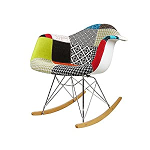modhaus mid century modern eames style rar patchwork fabric upholstered rocking. Black Bedroom Furniture Sets. Home Design Ideas