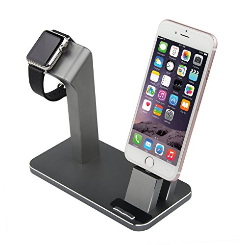 apple iwatch stand iphone dock aluminum charging charger stand dock station for apple watch. Black Bedroom Furniture Sets. Home Design Ideas