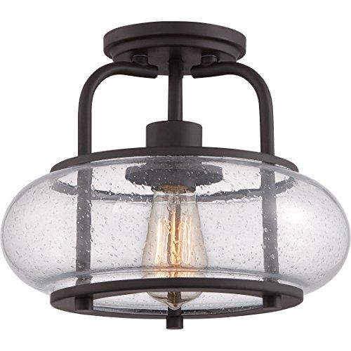 Quoizel TRG1712OZ Trilogy Glass Lantern Semi Flush Mount Ceiling Lighting, 1-Light, 100 Watt, Old Bronze (10
