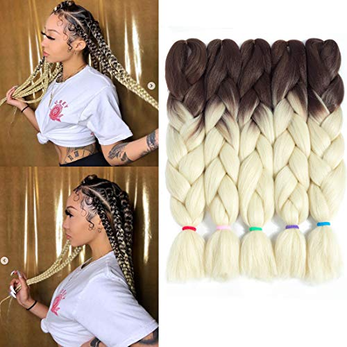 2 Tone Ombre Jumbo Braid Twist Hair Extensions 24Inch 5Pcs/Lot Kanekalon Jumbo Box Crochet Braiding Hair for Twist Synthetic Fiber (Ombre Chocolate to Beige)