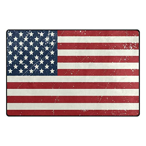 Creative USA Flag Non Slip Area Rug Memory Foam Mat Indoor Doormat Rug for Chair Office and Home Decorative Floor 31x20 or 60x39 inch - Usa Flowers Heys