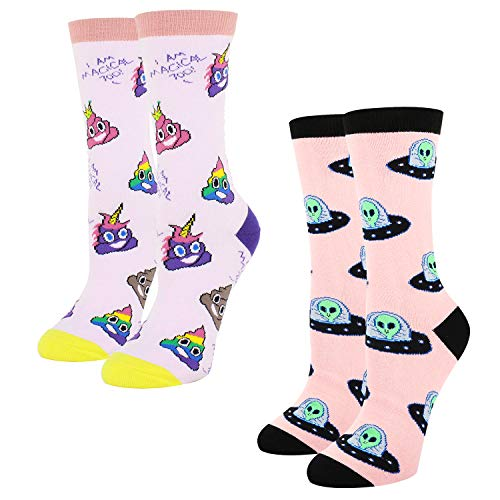 Women Girls Novelty Funny Colorful Crew Socks Crazy Alien Poop Emoji, 2 Pack with Gift Box -
