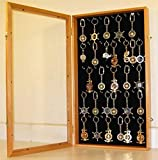 Oak Keychain Display Case Wall Cabinet Shadow Box With Glass Door