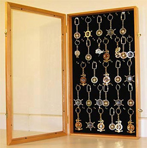 Oak Keychain Display Case Wall Cabinet Shadow Box With Glass Door by Display Case
