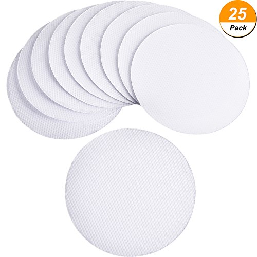 Frienda 25 Pieces Safety Shower Treads Non-slip PEVA Pads Adhesive Bath Stickers Anti-slip Bathroom Mat for Tubs Showers Stairs, Clear