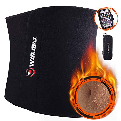 WIN.MAX Waist Trimmer Belt, Adjustable Weight Loss Exercise Ab Bel, Sweat Belt, Low Back and Lumbar Support with Sauna Suit Effect (Black, M) (Best Waist Trimmer Belt)