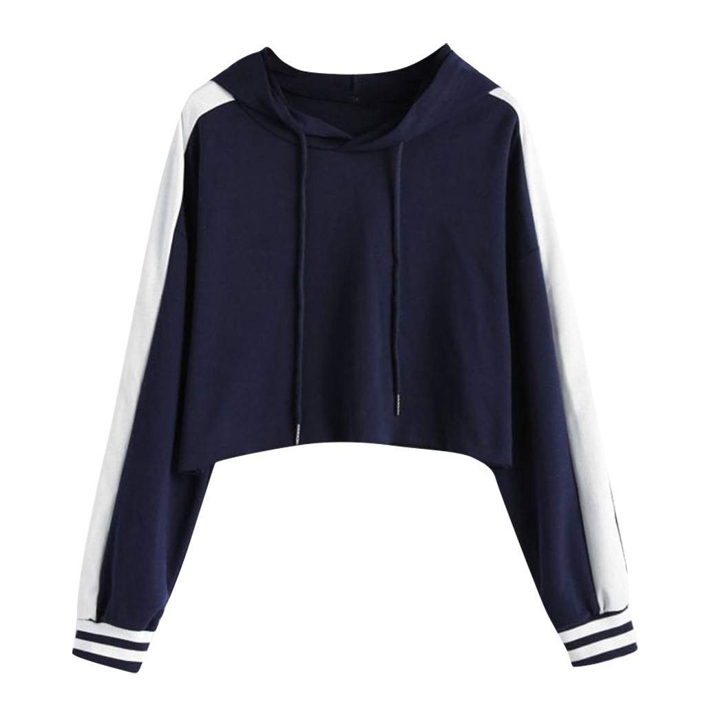 Rishine Women's Shirt, Solid Color Long-Sleeved Stitching O-Neck Pullover Hooded Sweatshirt Short Top Navy