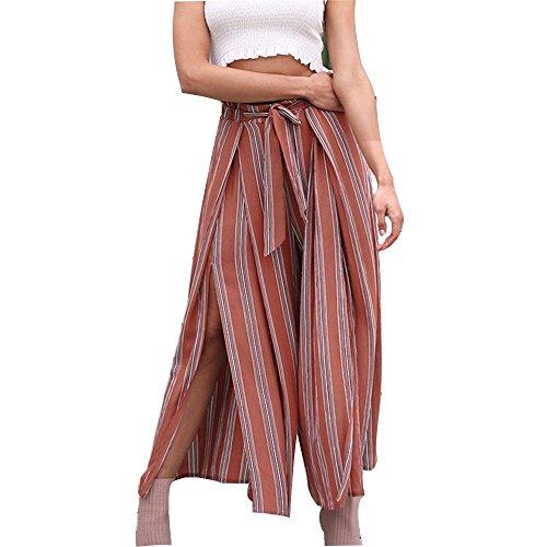 Women's Summer Casual Palazzo Pants Striped Belted Loose Wide Leg Cropped Pants Women's Boho High Waist Split Stripe Wide Leg Pants