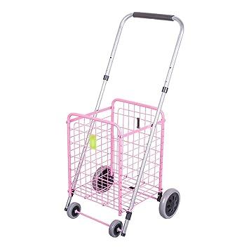 SXRNN Carro de Compras Plegable con 4 Ruedas Carrito de la Compra Escalada Rueda de Aluminio para Market Laundry 2 Colors,Pink: Amazon.es: Hogar