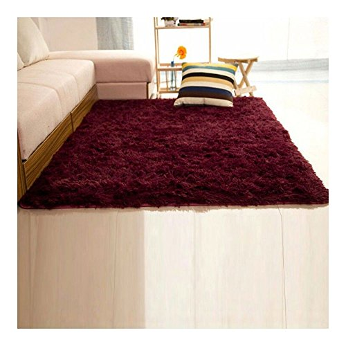 Shaggy Anti-skid Carpets Rugs Floor Mat/Cover 80*120cm (Red) - 9