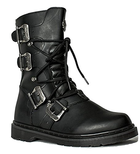 90s Gothic Grunge Buckle Mid-Calf Lace Up Military Hipster Combat Mid-Calf Men's...