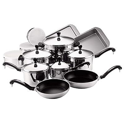 Farberware Classic Stainless Steel Non Stick 17 Piece Cookware Set & Free Premium Locking Tongs