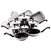 Farberware Classic Stainless Steel Non Stick 17 Piece Cookware Set & Free Premium Locking Tongs