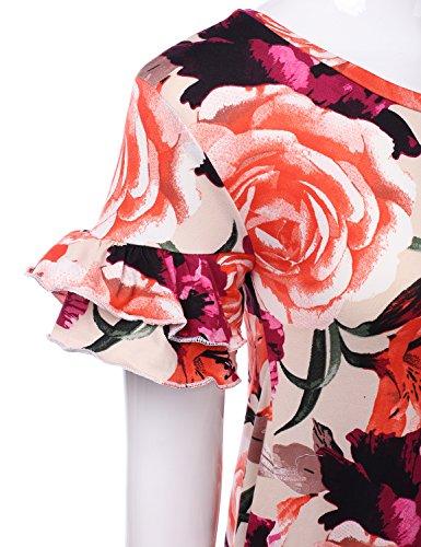 Doublju Des Femmes De Manches Coupe Ample Volanté Robe Tunique Taille Plus Cwdsd0492_roseprint