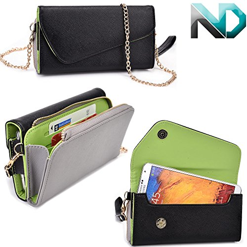 Pantech Vega R3 IM-A850L Womens Wristlet Clutch Case Semi-Gloss Black and Battleship Gray with Matte Olive Green with Credit Card Holder & ND Velcro Cable Organizer