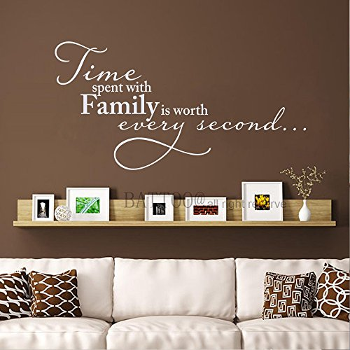 BATTOO Time Spent With Family is Worth Every Second Wall Decal Family Clock Decal Vinyl Lettering,12