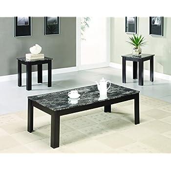 Amazon.com: Kings Brand 3 Piece Gray / Black Occasional Table Set ...
