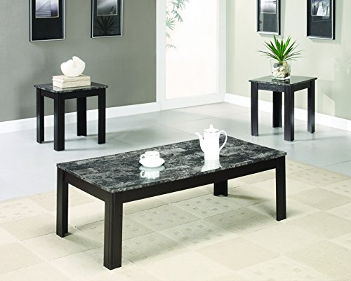 coaster transitional black three piece occasional table set with marble look top