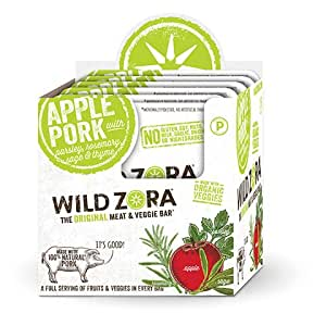 Apple Pork - Meat and Veggie Bars (10-pack) are AIP snacks are made from all-natural pork and organic vegetables. They are nightshade-free, grain and gluten-free and nut-free.
