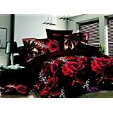 Queen Size 3d Bedding Sets,100% Cotton,Red Rose Black Print 4 Piece Duvet Cover Bedding Sets,include 1 Duvet Cover,1 Bed Sheet, 2*pillow Case,not Include Any Filler or Comforter