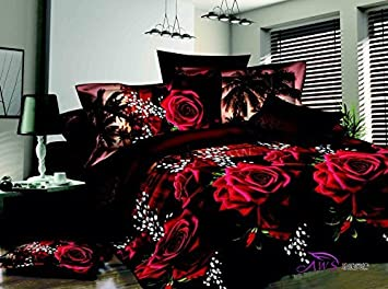 Amazoncom Queen Size D Bedding Sets CottonRed Rose Black - Bedding sets queen