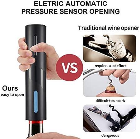 Aceshop Sacacorchos Electrico, Profesional Automatico Abrelatas de Vino, Abridor Botellas de Vino Inalámbrico con Cortador de Papel, Vertedor, Tapón de Vino Silicona de Vacío y Cable de Datos