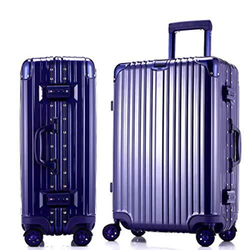 24インチトロリー荷物キャスタースーツケースアルミフレームビジネスボックス学生ボックス20インチ缶ボード (Color : 青, Size : 24 inches)   B07RH833B2
