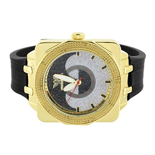 Gold Finish Diamond Watch Jojino Joe Rodeo Black Rubber Strap Analog Jojo