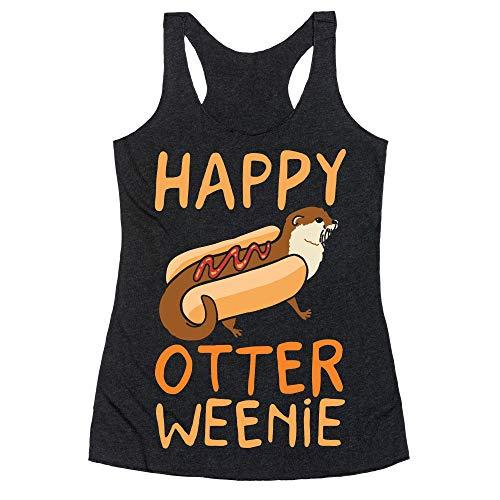 LookHUMAN Happy Otterweenie Medium Heathered Black Women's Racerback -