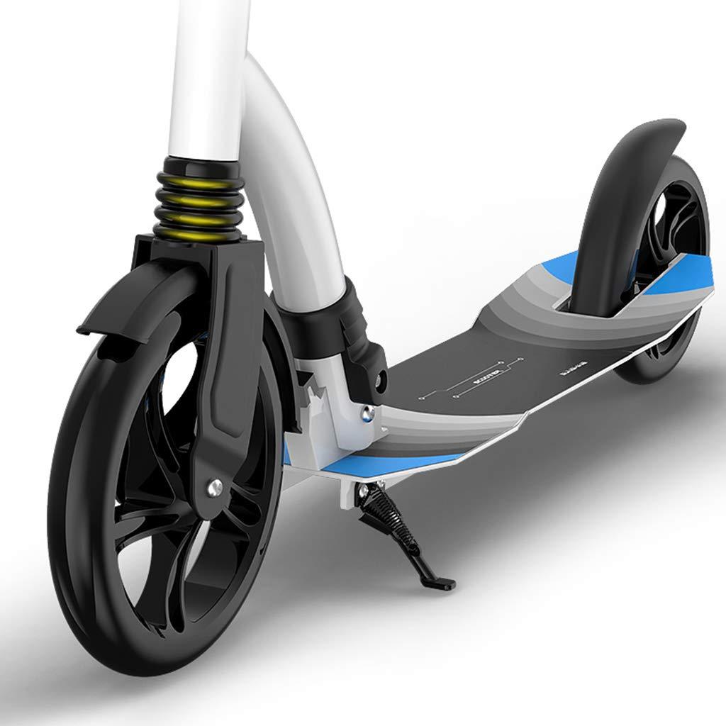 キックボード キックスクーター 大きな車輪を持つ大人のスクーター、女性のための白いポータブルフォークキックスクーター男性の通勤、100kg、非電気 (色 : 黒) B07KPCJN59 白 白