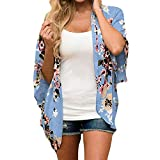 YANG-YI Hot Summer Women Chiffon Floral Kimono Loose Half Sleeve Shawl Chiffon Casual Cardigan (Blue, XL)