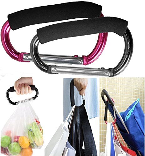 Large Stroller Hooks for Mommy, 2 pcs Carabiner Stroller Hook Organizer for Hanging Purses, Diaper Bag, Shopping Bags. Clip Fits Single/Twin Travel Systems, Car Seats and Joggers (Black+Rose) (Stroller Hook)