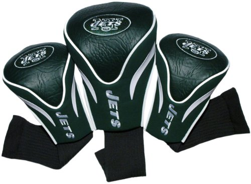 Team Golf NFL New York Jets Contour Golf Club Headcovers (3 Count), Numbered 1, 3, & X, Fits Oversized Drivers, Utility, Rescue & Fairway Clubs, Velour lined for Extra Club ()