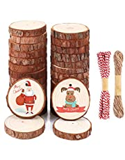 Natural Wood Slices SOLEDI 30 PCS 6-7 cm Unfinished Wooden Circles Predrilled with Hole comes with 33 ft Natural Jute Twine and Red Cotton, For Christmas Ornaments and Wood Burning, DIY Crafts.