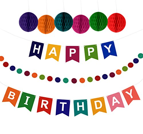 Artistrend Happy Birthday Banner Decorations Set with Colorful Pom Pom Balls & Garland -