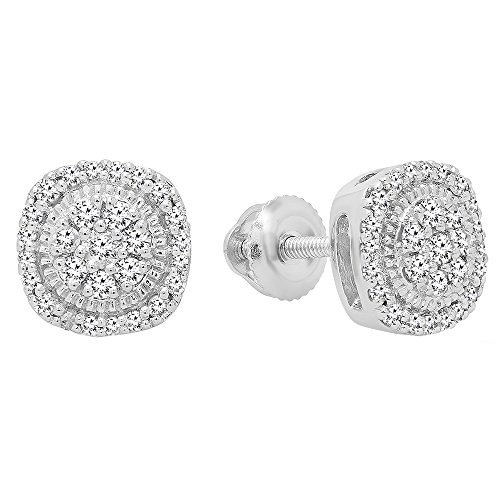 Dazzlingrock Collection 0.30 Carat (ctw) 10K Round White Diamond Ladies Cluster Stud Earrings 1/3 CT, White Gold ()
