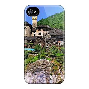 AWU DIYExcellent Design Gorgeous Little Town Across The Bridge Phone Case For Iphone 4/4s Premium Tpu Case